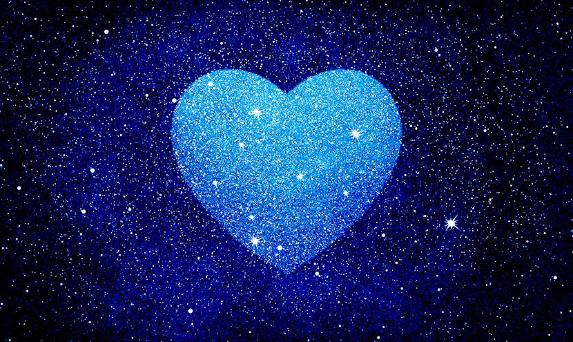 夜空に浮かぶハートの星