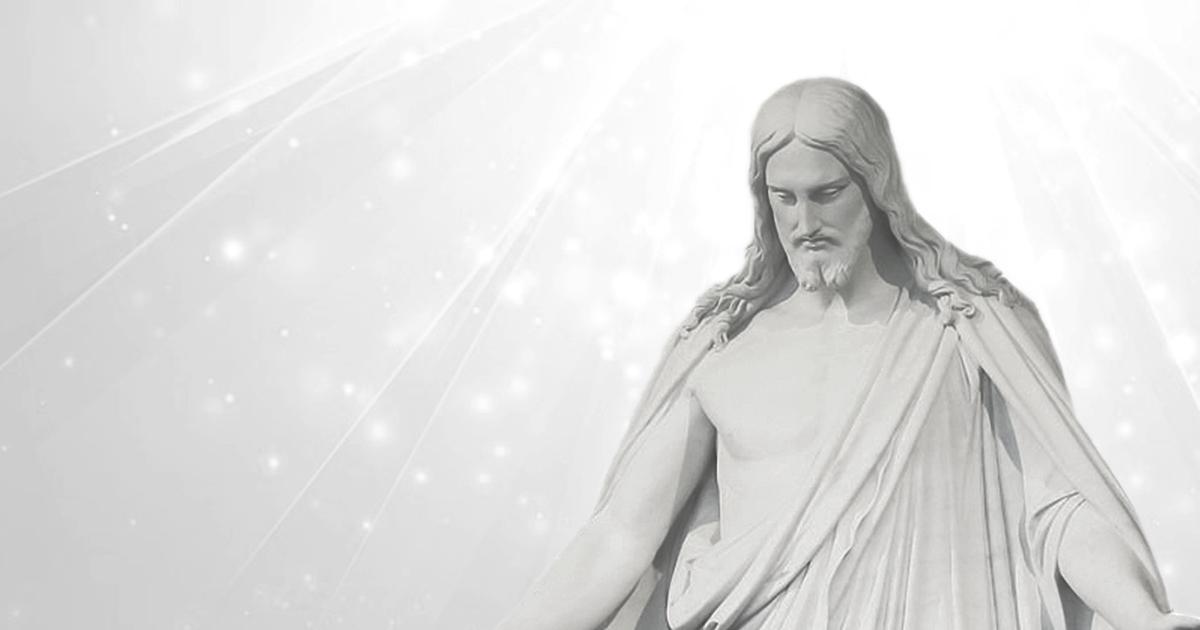 イエス・キリスト像と白色光線
