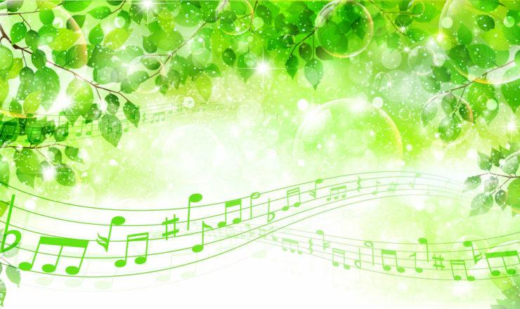 緑の葉と流れる音符
