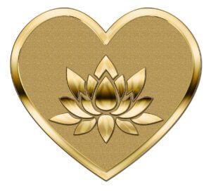 黄金のハートの中に咲く蓮の花