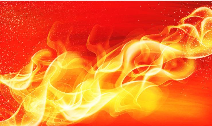 赤く燃える光