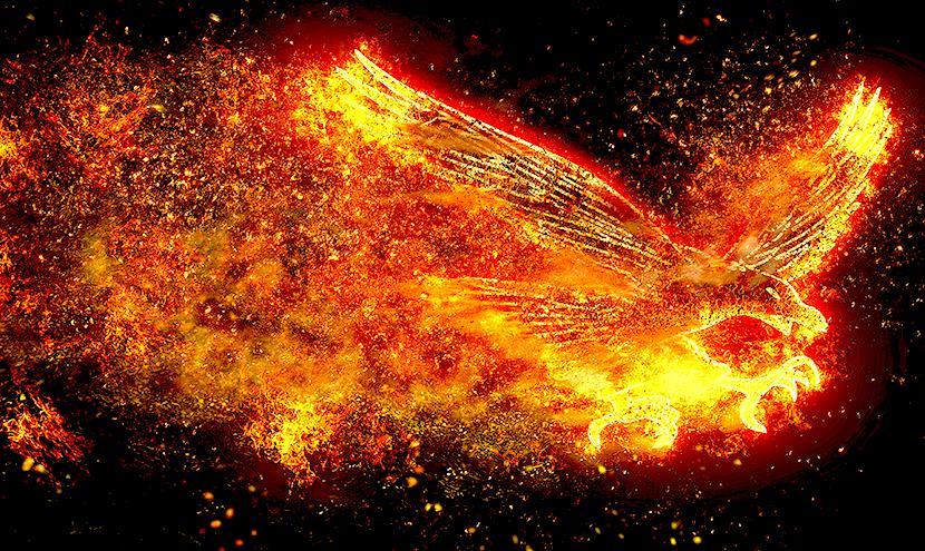 宇宙に輝く黄金の不死鳥
