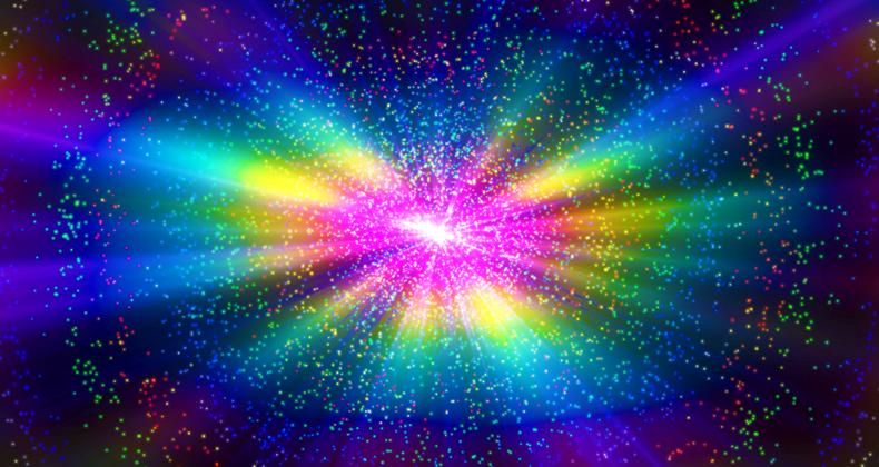 宇宙に輝く七色の光