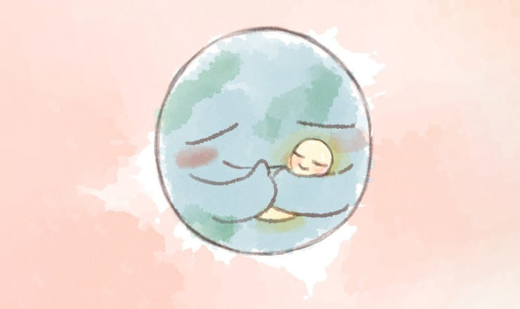 子供を抱きかかえる地球