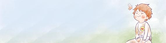 宇宙人アミちゃんと草原と蝶