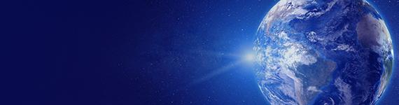 青く光り輝く地球