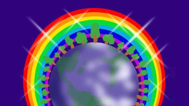 たくさんの木と虹の輪に囲まれた地球の絵